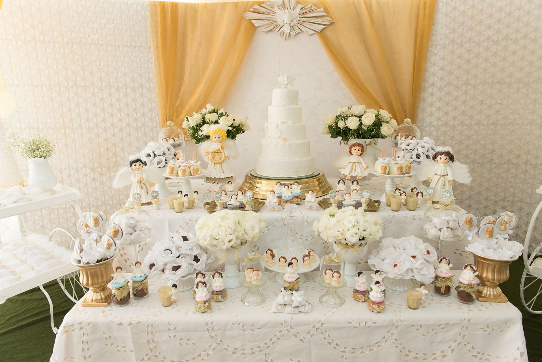 Mesa de Batizado 60+ Ideias Lindas de Decoraç u00e3o # Decoracao De Batizado Branco Com Dourado