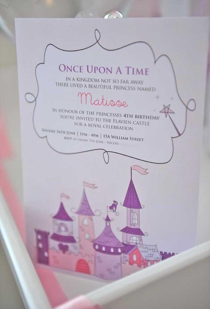 Faça o convite de aniversário no modelo como se fosse um anúncio do castelo da Princesa.