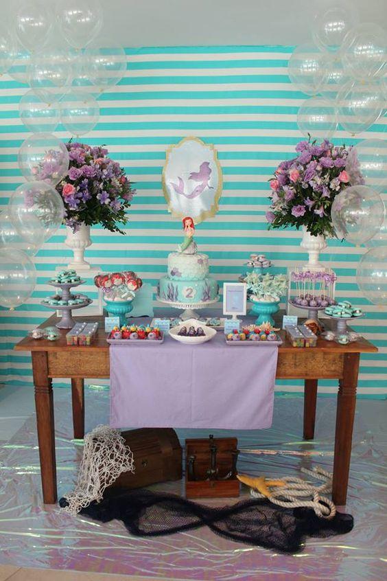 Festa da Pequena Sereia Ariel 60+ Fotos Incríveis! -> Decoração De Pequena Sereia Simples