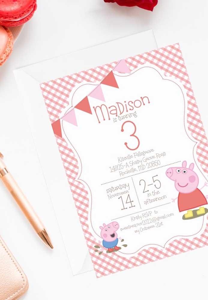 Existem vários modelos de convite com o tema Peppa Pig, basta escolher aquele que mais combina com a decoração.