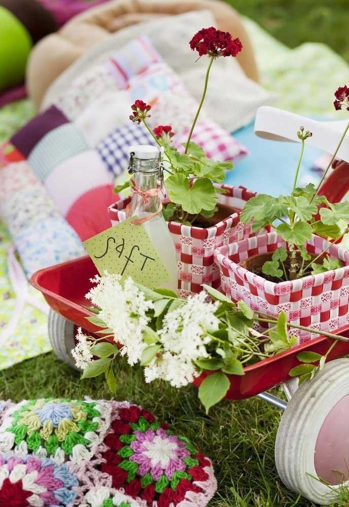 Olha que decoração mais fofa com vasos de flores e plantas.