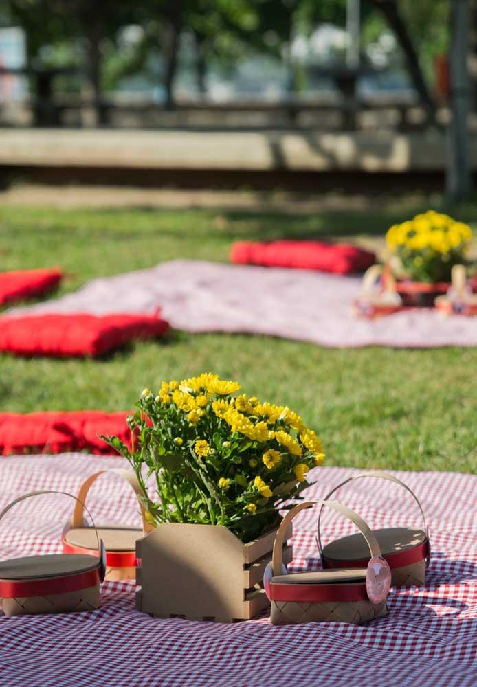A festa piquenique ideal é aquela em que os convidados se sentam na grama. Para decorar o centro, use belos arranjos de flores.