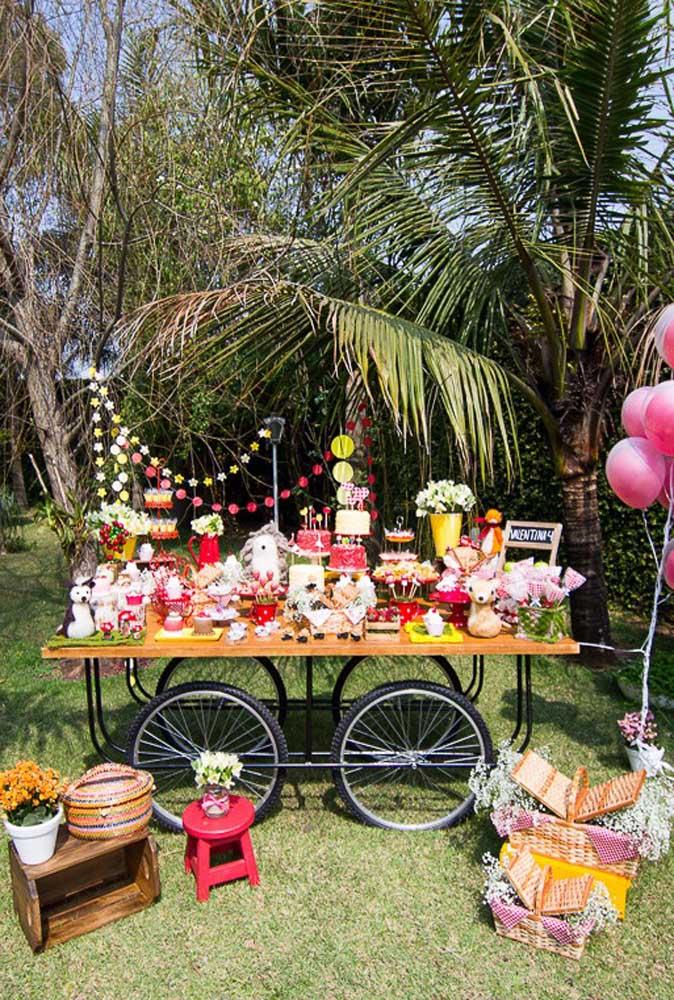 Olha que decoração ao ar livre mais encantadora para comemorar o aniversário no estilo piquenique.