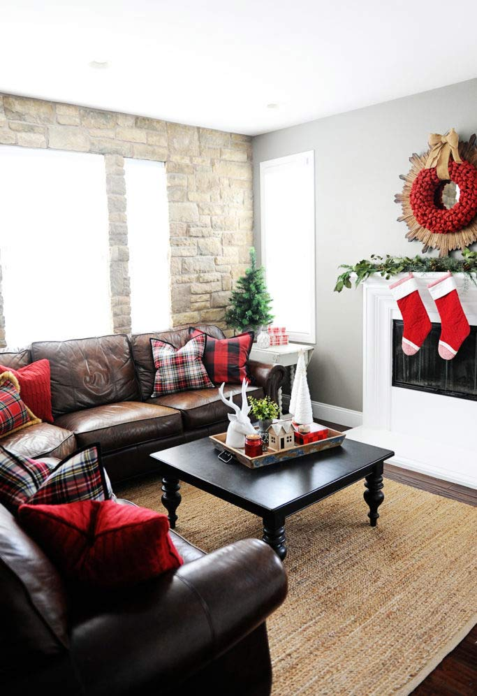 Sala com cores e texturas do Natal