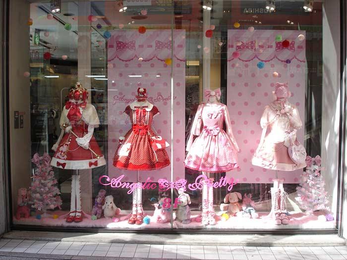 Decoração natalina para loja na cor rosa
