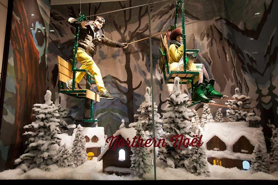 Decoração para loja de roupas esportivas no Natal