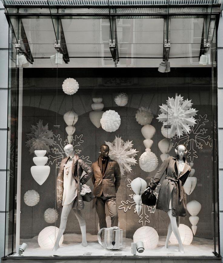 Decoração de Natal para lojas na cor branca