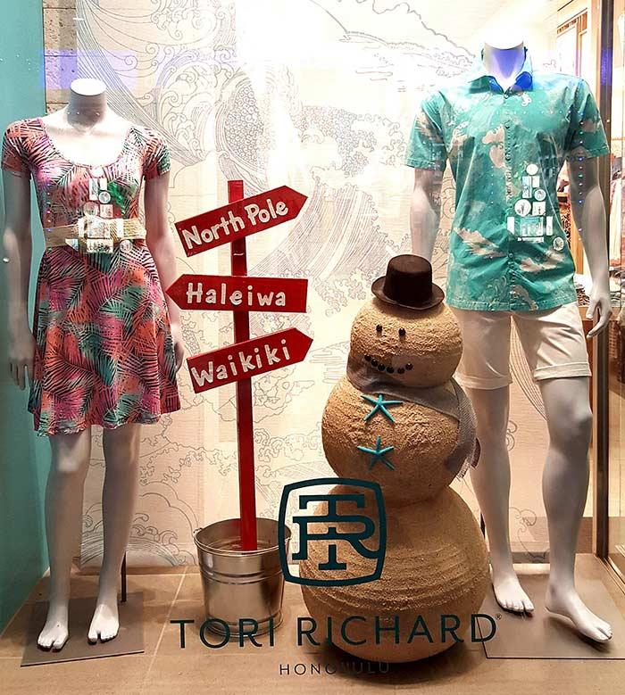 Decoração para loja de roupas de praia