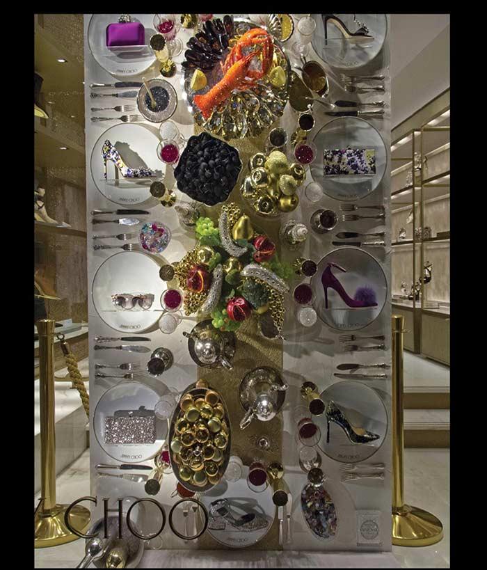 Mesa de ceia de Natal para decorar a vitrine