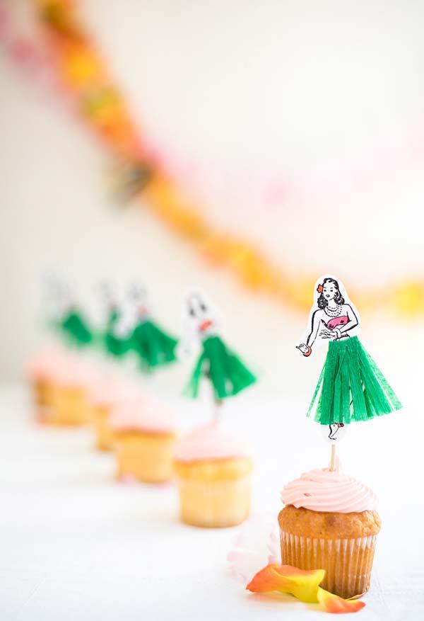 Cupcakes lindos para festa havaiana