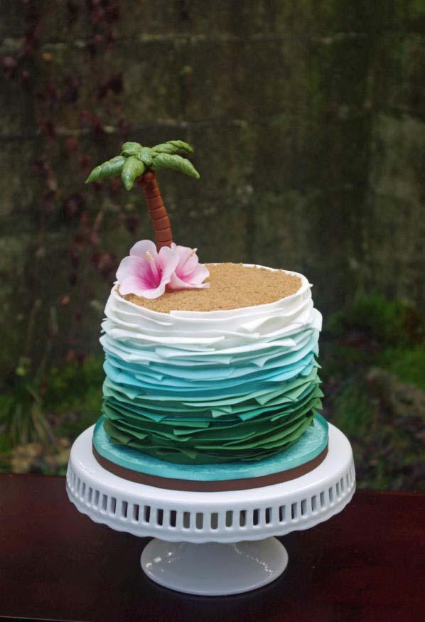 textura e degradê de cores nessa recriação de ilhazinha havaiana