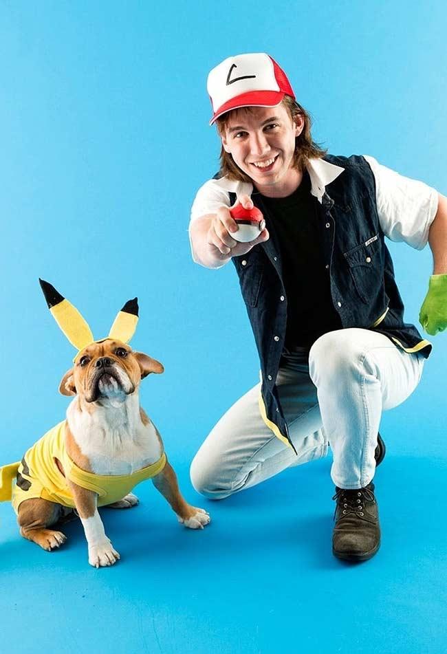 Fantasia de carnaval Ash e Pikachu