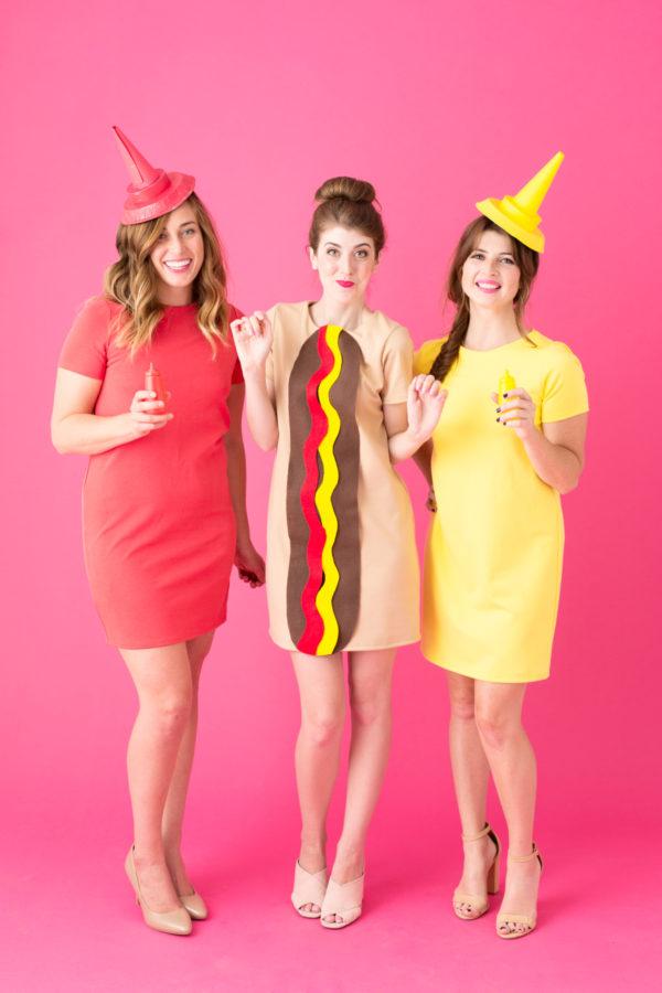 Fantasia de carnaval: trio hot dog, ketchup e mostarda