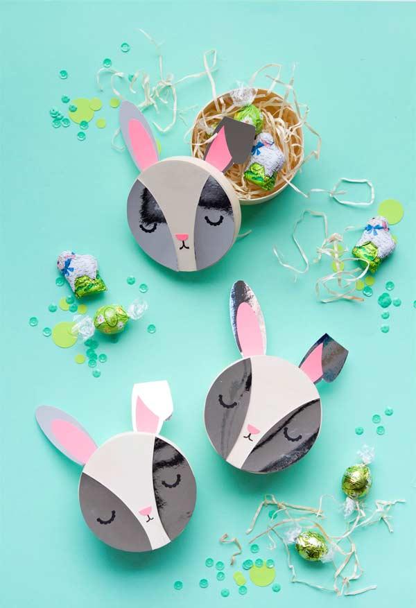 Caixinhas de papel com carinha de coelho