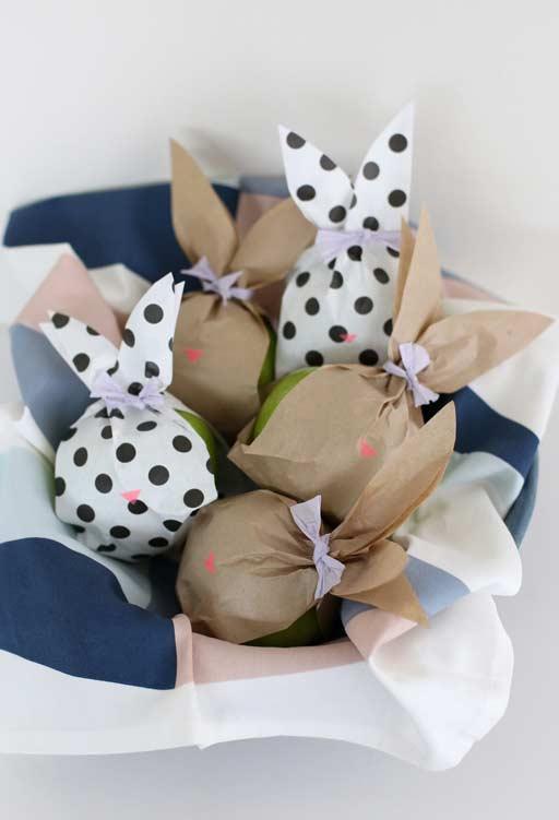 Frutas embaladas em saquinhos de coelho