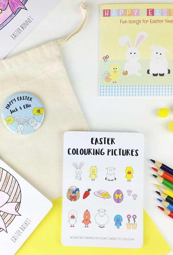 Crie um kit de páscoa para colorir