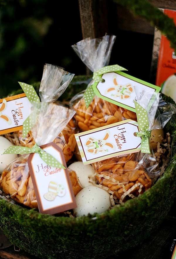 Use uma cesta com ovos para dispor as suas lembrancinhas