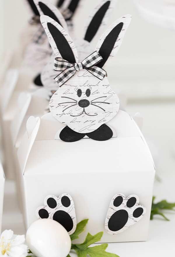 Caixa de papel inspirada no coelho da páscoa