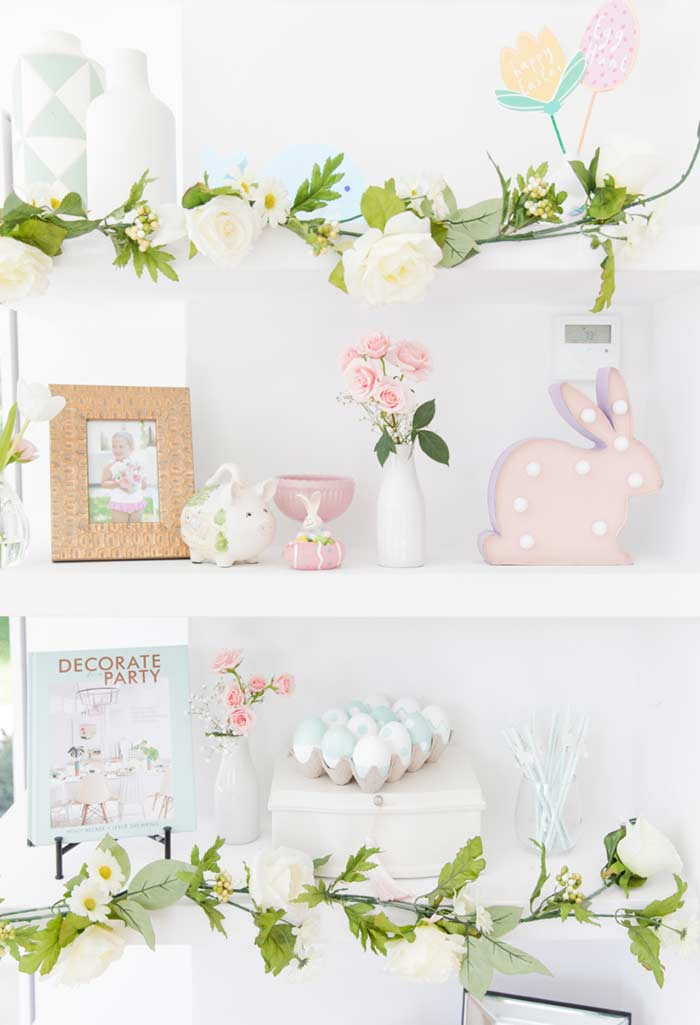Decoração de Páscoa com galhos e flores artificiais!!!