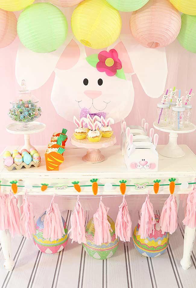 Mesa super decorada para a Páscoa