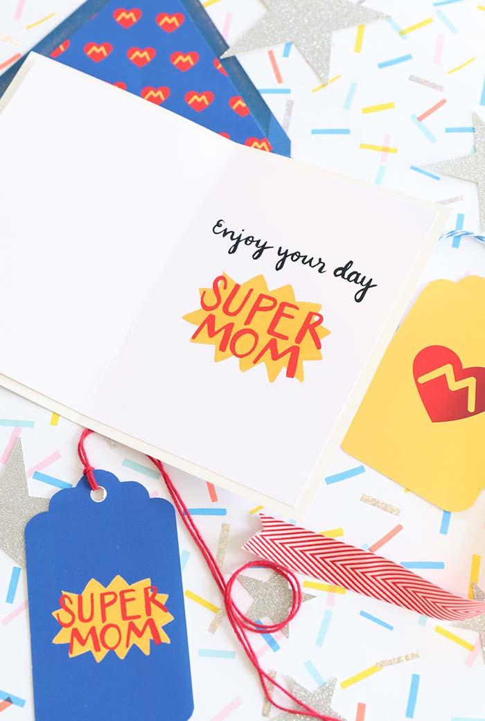 Cartões especiais para a sua super-heroína preferida: a super mãe
