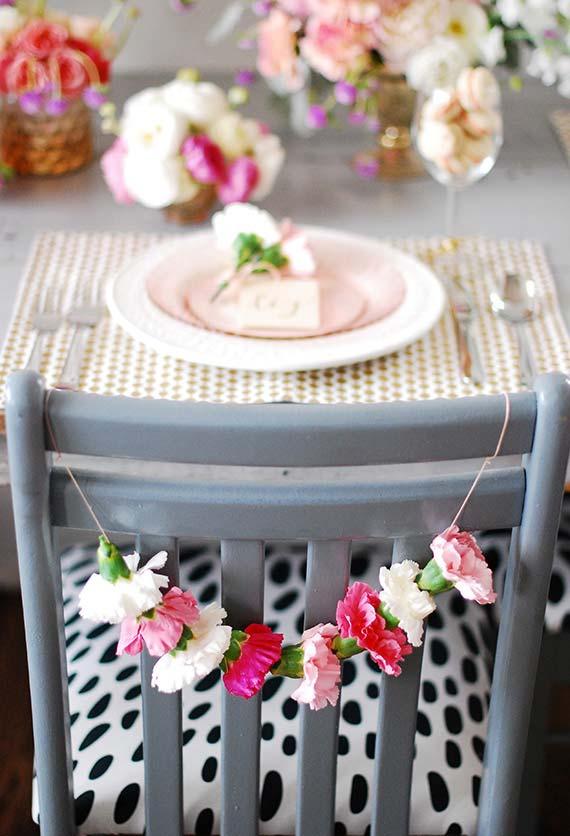Garland floral para pendurar no encosto das cadeiras