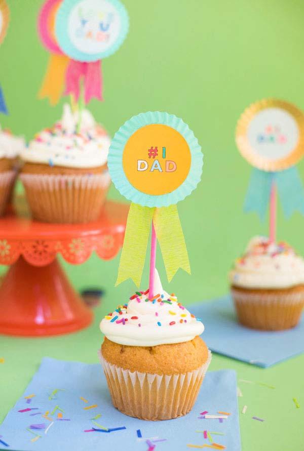 Decoração dia dos pais: cupcake com topper