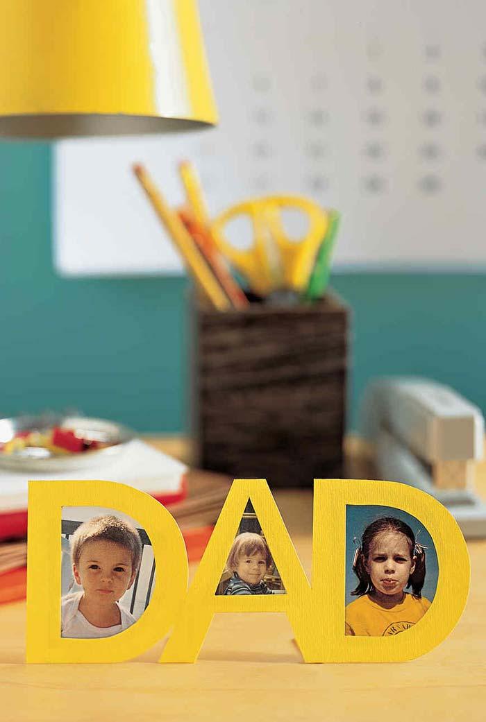 porta-retrato de papel no formato da palavra Pai