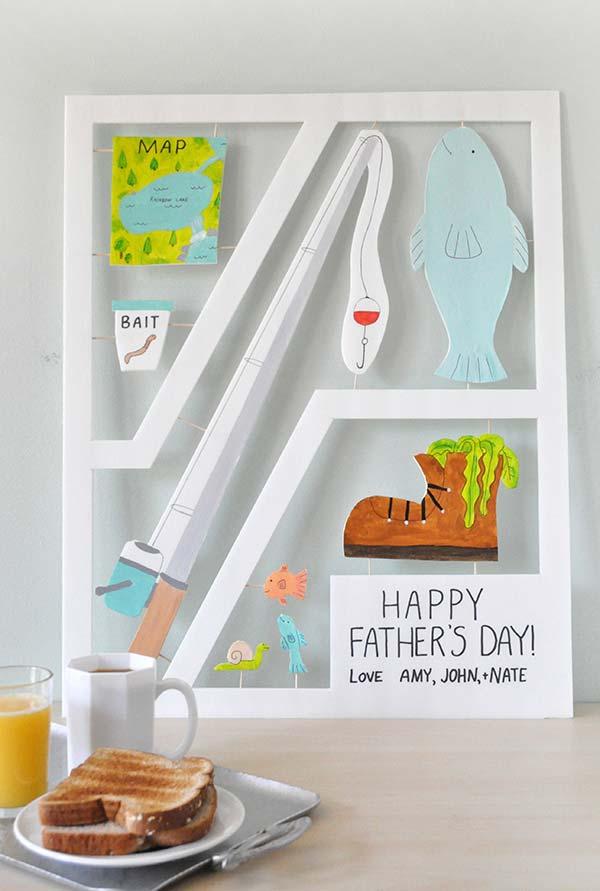 Painel do dia dos pais para aqueles que amam sair para pescar