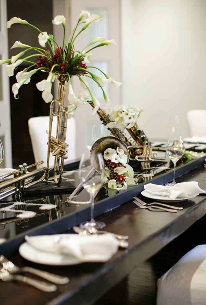 Decoração de mesa especial para os pais músicos