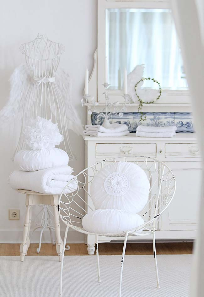 Almofadas redondas de algodão em crochê