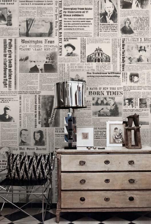 Artesanato com jornal: use folhas de jornal como papel de parede