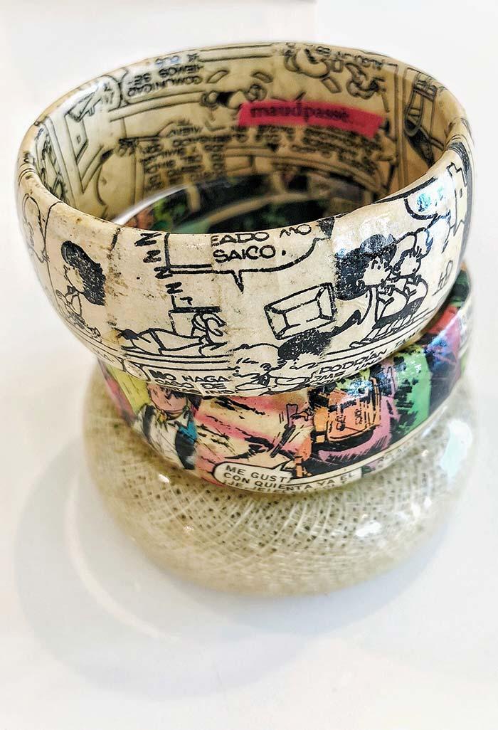 Tirinhas para pulseiras de artesanato com jornal