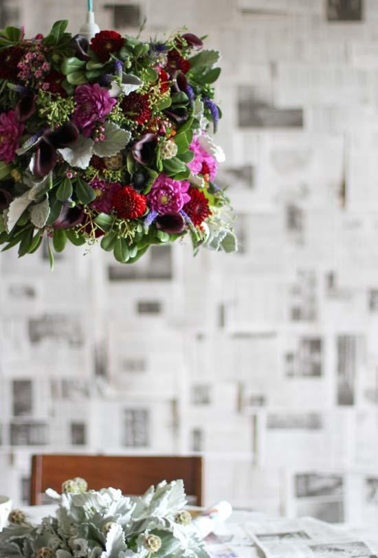 Artesanato com jornal na parede