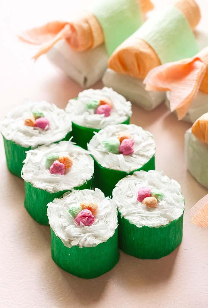 Embalagem sushi: artesanato com rolo de papel higiênico