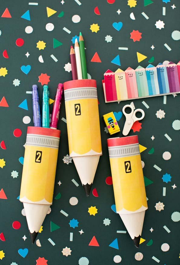 Artesanato com rolo de papel higiênico: porta-lápis criativos cilíndricos
