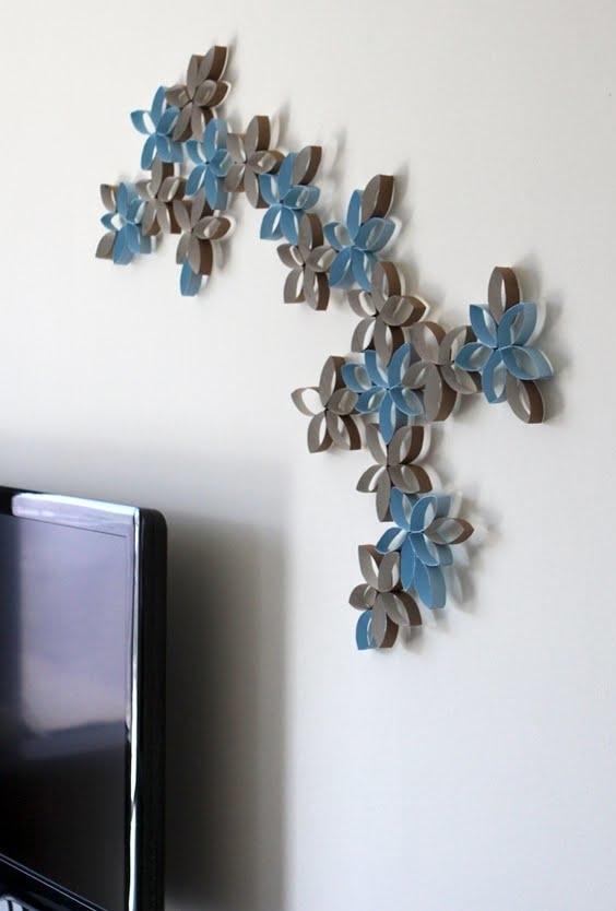 Outra ideia de folhagem vazada com rolos de papel higiênico