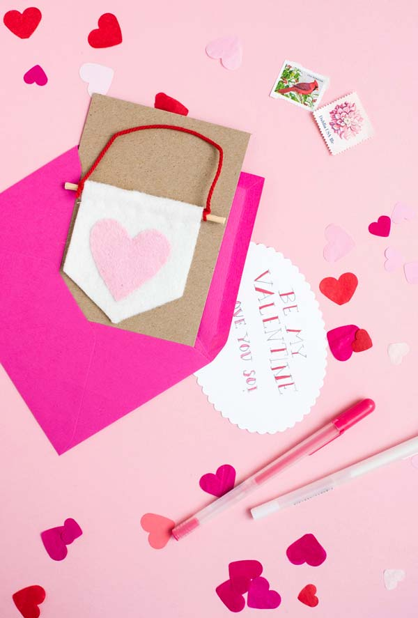 Artesanato em feltro: cartão de dia dos namorados