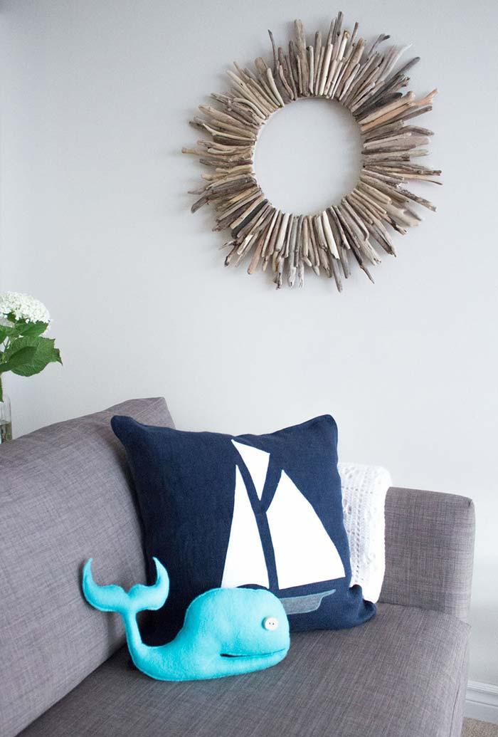 Baleinha de feltro para decorar a sala
