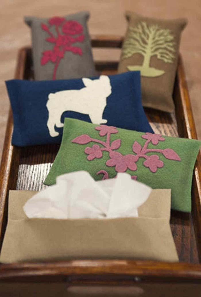 Porta lenços de feltro com estampas variadas
