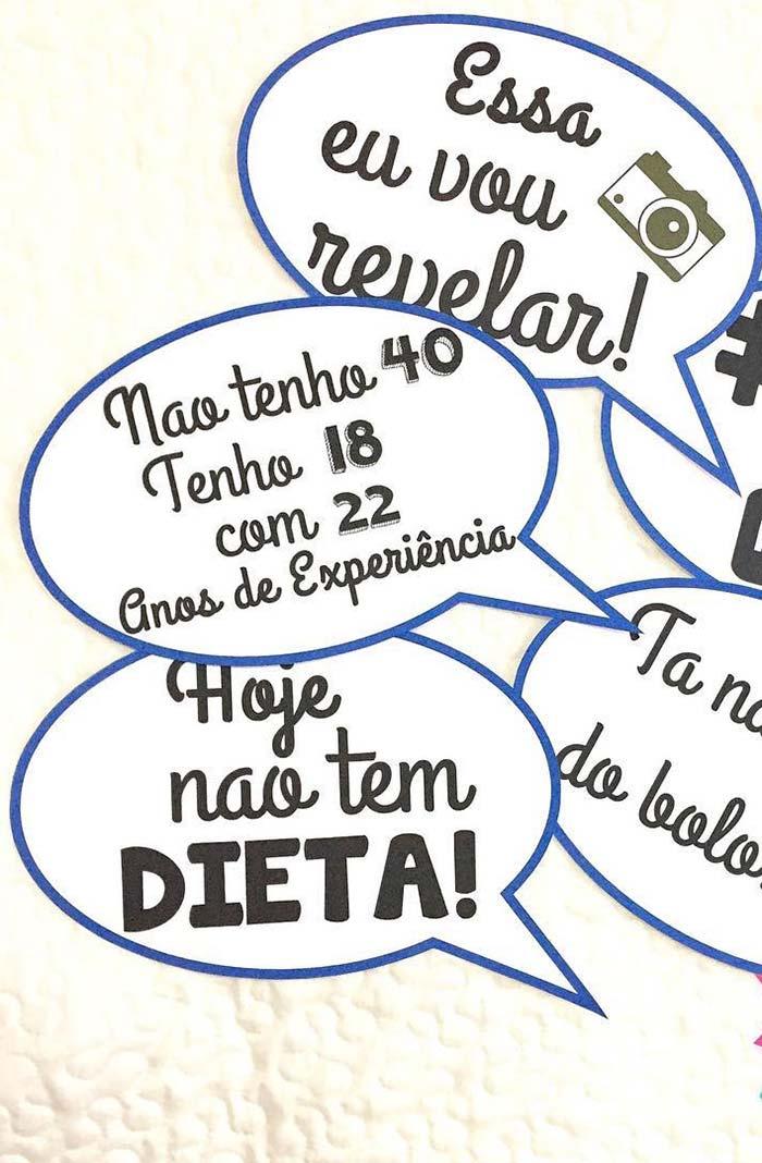 Ideias de frases para plaquinhas no estilo balão de fala das HQs