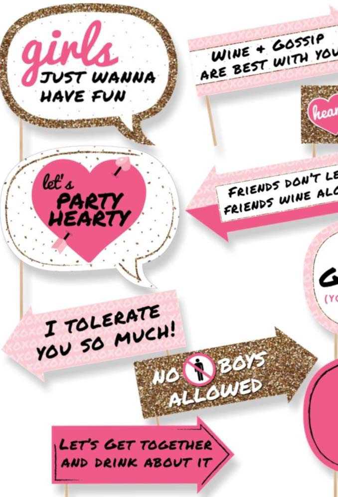 Festa só para as garotas: plaquinhas para uma noite perfeita