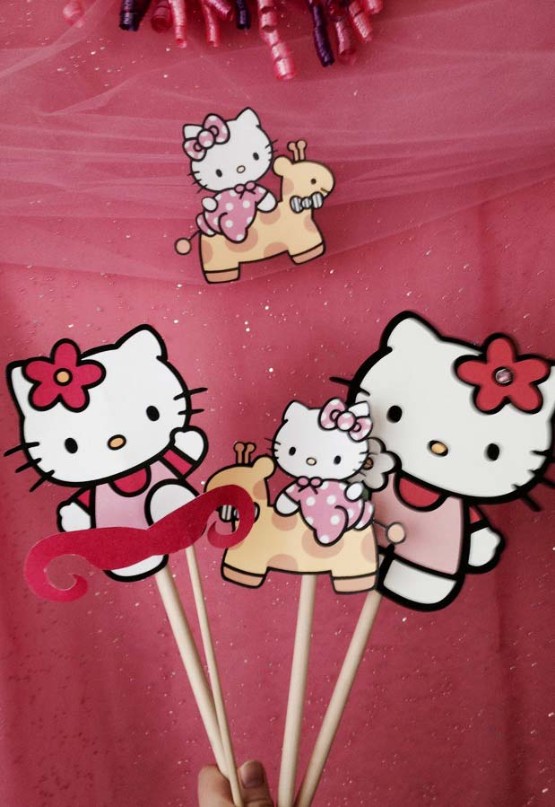 Plaquinhas para festa da Hello Kitty