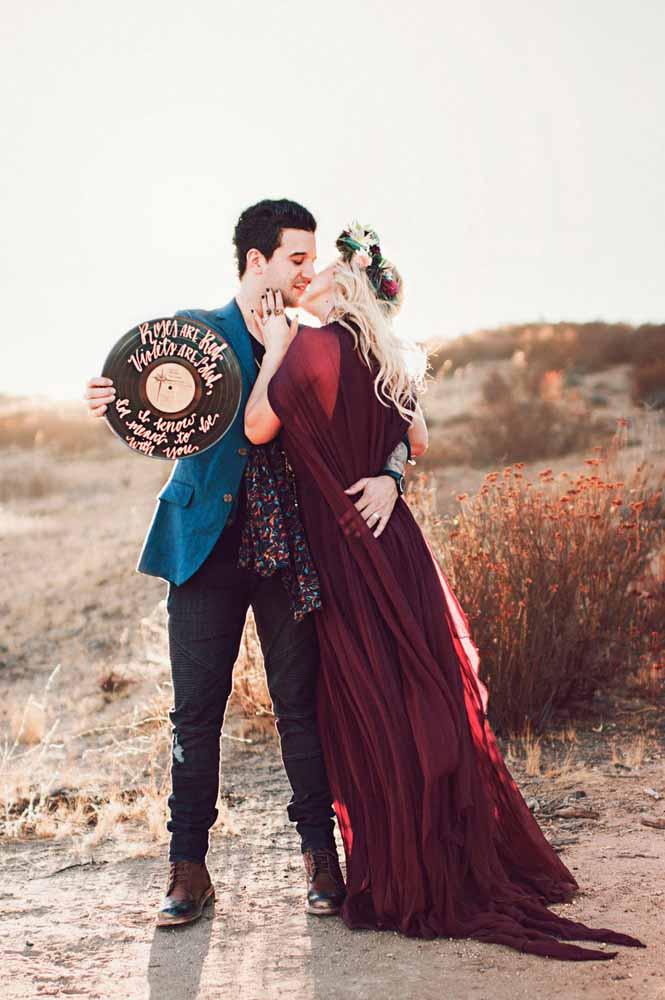 E se a paixão do casal é por discos de vinil, eles não podem faltar ao ensaio